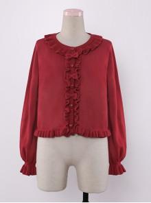 Bowknot Ruffles Sweet Lolita Short Knit Cardigan