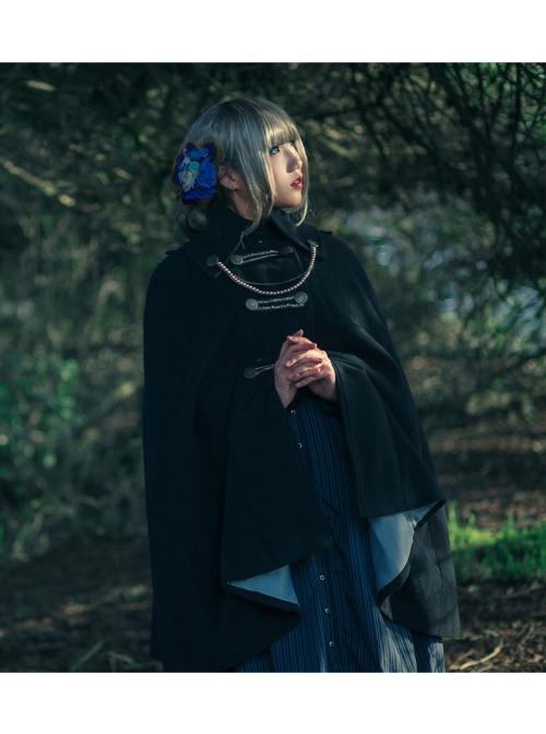 Black Lady Gothic Lolita Round-neck Wool Long Cloak