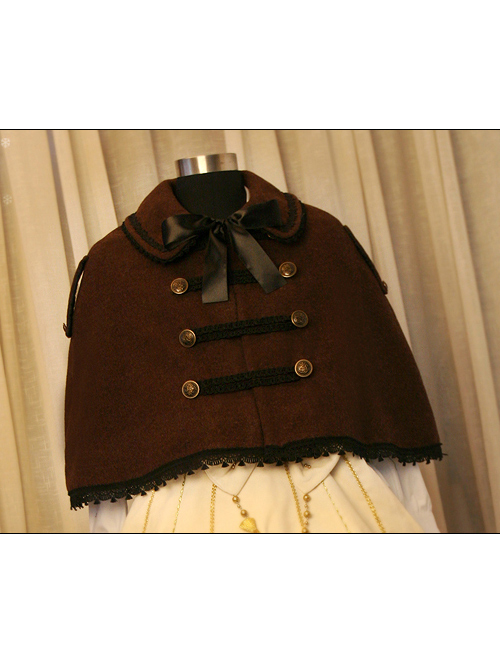 Merry Christmas Coffee Color Wool Military Uniform Style Cloak