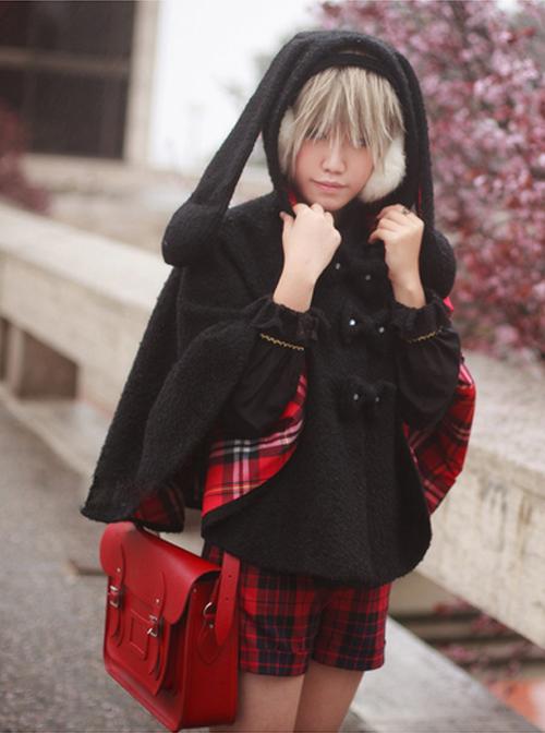 Black Cute Rabbit ears Sweet Lolita Cloak