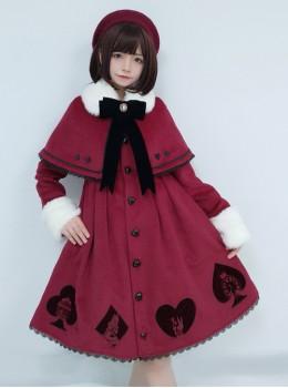 Queen Of Hearts Series Classic Lolita Red Coat And Cloak Set