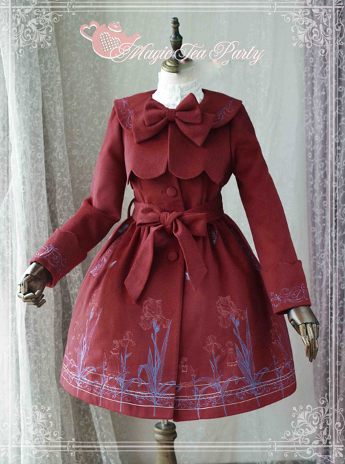 Magic Tea Party Irises Series Color Embroidery Fake Two Pieces Classic Lolita Winter Coat For Women