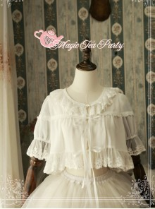 Magic Tea Party Short Sleeve Short Lace-up Chiffon Cardigan