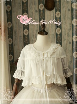 Magic Tea Party Short Sleeve Short Lace-up Chiffon Cardigan