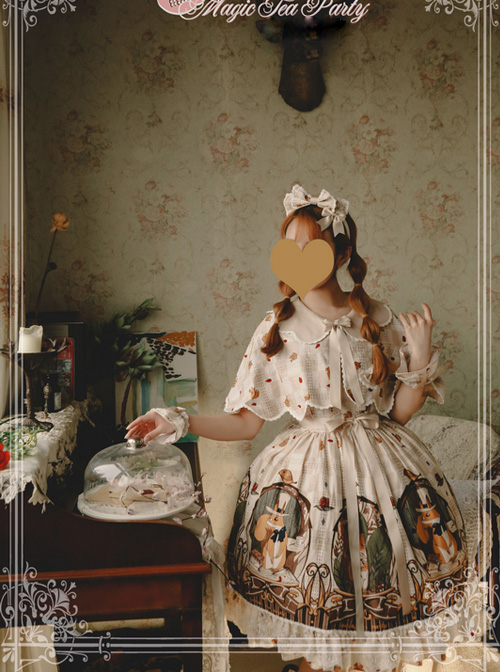 Magic Tea Party The Squirrel Couple's Afternoon Series Printing Sweet Lolita Shawl