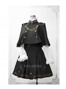 Uniform Style Velvet Lolita Suit Of Skirt And Cloak
