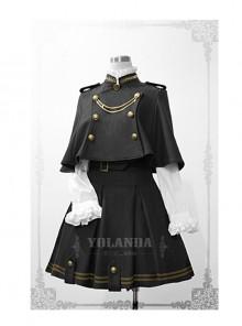 Uniform Style Velvet Lolita Suit Of Skirt And Cloak