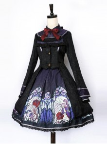 Beauty The Rose Series Printing Purple Gothic Lolita Coat