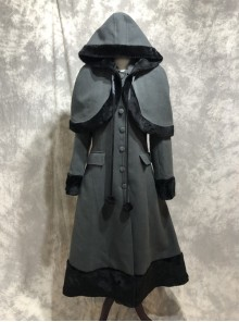 Classic Lolita Lapel Long Style Coat With Cloak