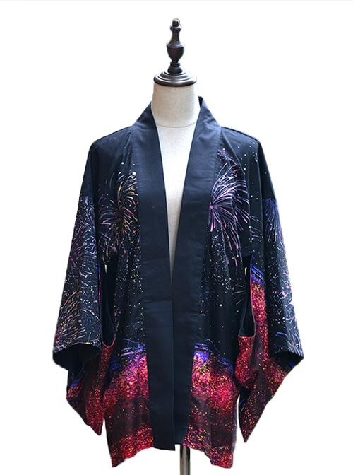 Sakura Fireworks Improved Kimono Yukata Lolita Coat