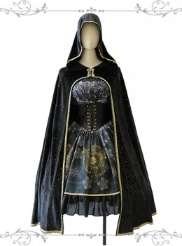 Meteorite Magic Gothic Lolita Bronzing Black Cloak