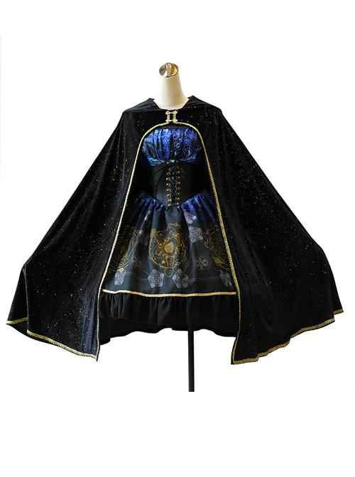 Meteorite Magic Gothic Lolita Bronzing Black Cloak