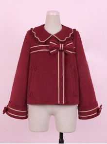 New Year Gift Box Bowknot Wine Red Lolita Coat