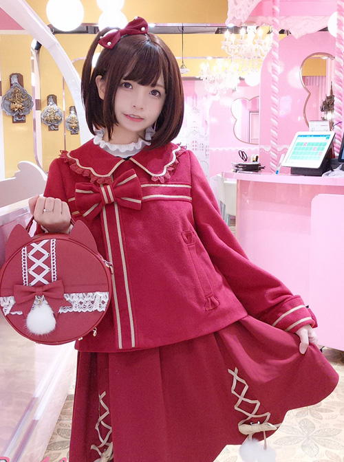 New Year Gift Box Bowknot Wine Red Lolita Coat