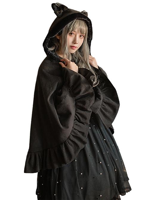 Plus Velvet Thickening Woolen Cat Ears Bowknot Lolita Pocket Cloak