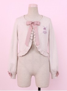 Retro Doll Rabbit Embroidery Short Detachable Fur Collar Lolita Knitted Cardigan