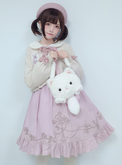 Retro Doll Rabbit Embroidery Short Detachable Fur Collar Lolita Knitted Cardigan