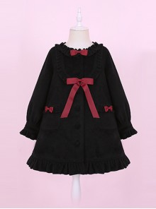 Black Ruffles Cute Bowknot Sweet Lolita Woolen Coat