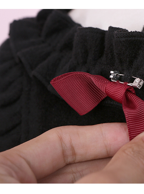 Black Ruffles Cute Bowknot Sweet Lolita Woolen Coat