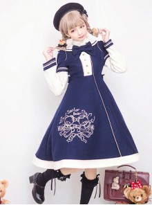 Bear Embroidered Bowknot Sweet Lolita Woolen Coat