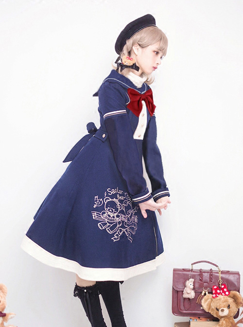 Bear Embroidered Bowknot Sweet Lolita Woolen Coat