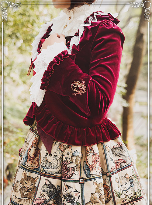 Cat's Playful Courtyard Series Wine Red Classic Lolita Small Coat