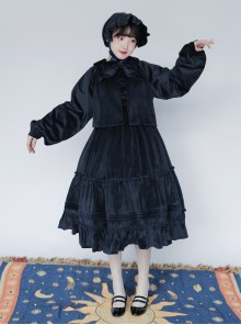 Pure Color Velvet Bowknot Lolita Loose Short Coat