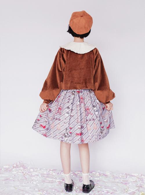 Pure Color Velvet Bowknot Lolita Loose Short Coat