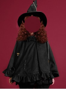 Halloween Brown And Black Suede Gothic Lolita Cloak