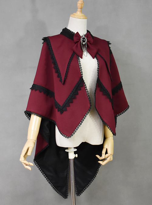 Halloween Vampire V-shaped Collar Black Lace Red Gothic Lolita Cloak