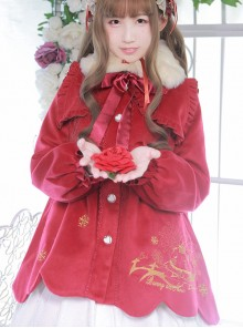 Winter High Waist Petal Edge Sweet Lolita Fur Collar Coat