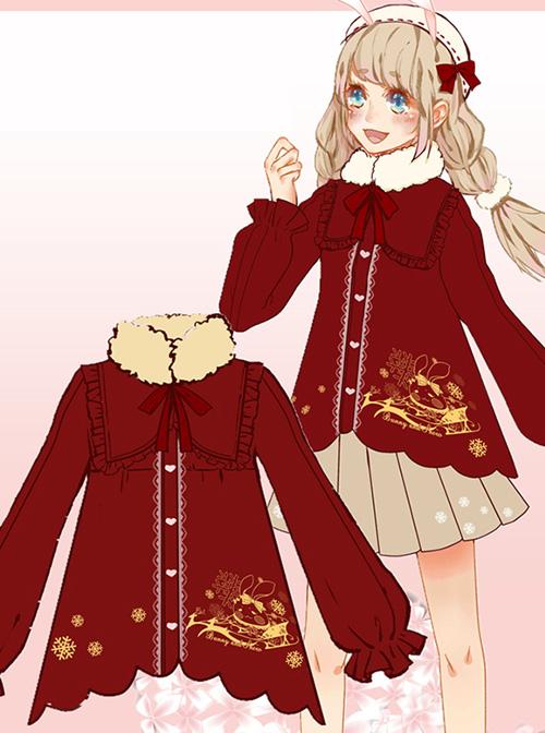 Winter High Waist Petal Edge Sweet Lolita Fur Collar Coat