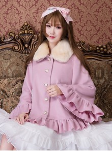 Cute Woolen Fur Collar Classic Lolita Short Coat