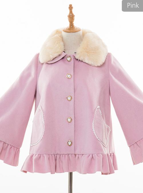 Cute Woolen Fur Collar Classic Lolita Short Coat