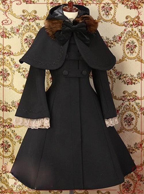 Elegant Shawl Hooded Trumpet Sleeve Lolita Woolen Coat