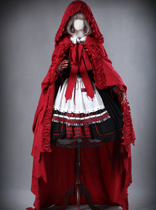 *Little Red Riding Hood That Turns Into A Wolf* Gothic Lolita Hooded Cloak
