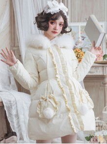 Cute Pure Color Ruffle Sweet Lolita Down Jacket With Detachable Fur Collar