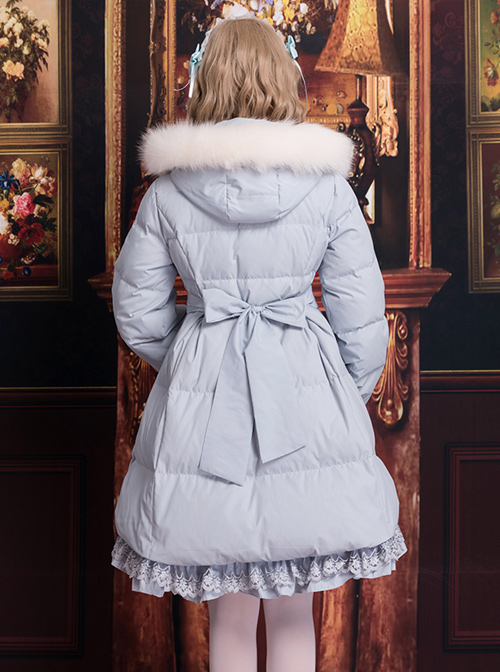 White Duck Down Pure Color Sweet Lolita Down Jacket With Detachable Fur Collar