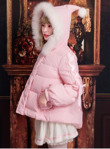 White Duck Down Fox Fur Collar Sweet Lolita Down Jacket