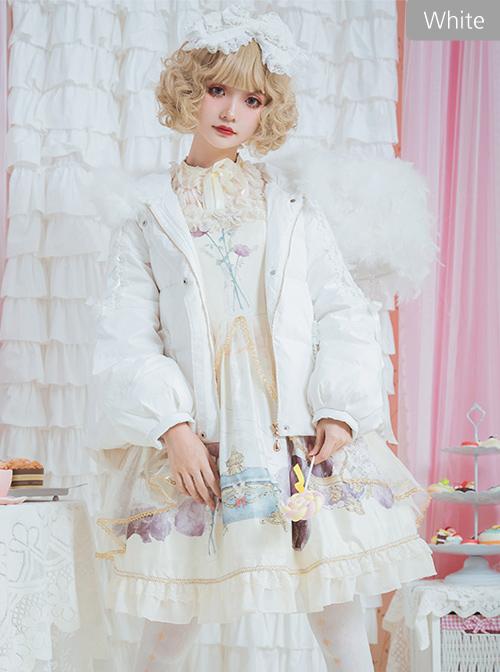White Duck Down Fox Fur Collar Sweet Lolita Down Jacket