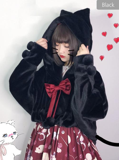 Ghost Cat Series Pure Color Bat Sleeves Fluffy Sweet Lolita Short Coat