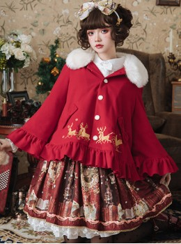 Elk Classic Lolita Cloak Coat With The Detachable Fur Collar