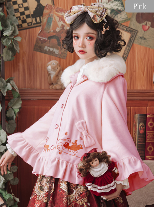 Elk Classic Lolita Cloak Coat With The Detachable Fur Collar