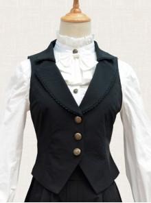 Black Chiffon Handsome Elegant Retro Classic Lolita Vest