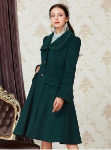 Retro Ruffle Doll Collar Classic Lolita Green Woolen Coat