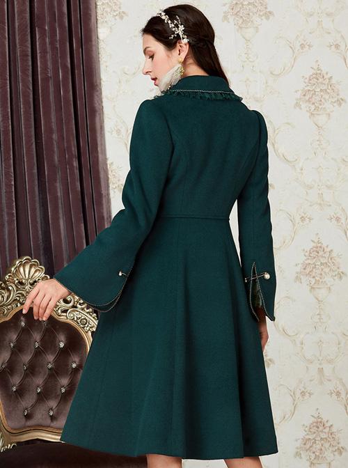 Retro Ruffle Doll Collar Classic Lolita Green Woolen Coat