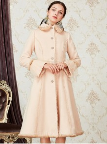 Retro Elegance Doll Collar Classic Lolita Khaki Single Breasted Woolen Coat