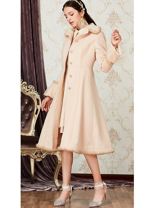 Retro Elegance Doll Collar Classic Lolita Khaki Single Breasted Woolen Coat