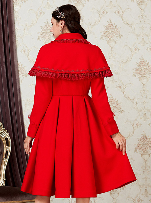 Red Single Breasted Classic Lolita Double-faced Cashmere Cloak Coat