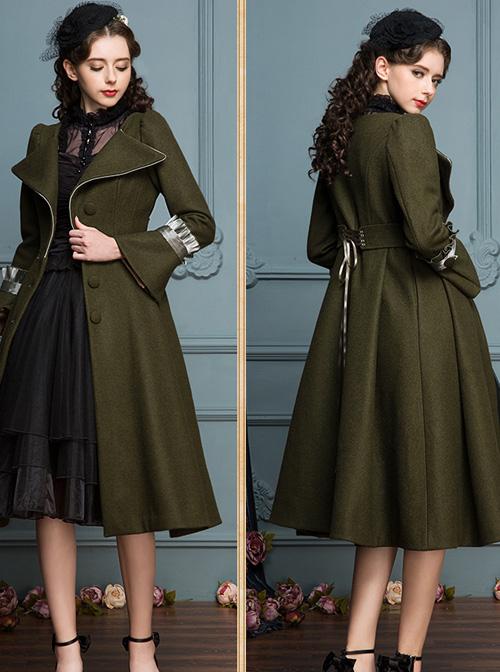 Ruffle V Collar Classic Lolita Army Green Coat